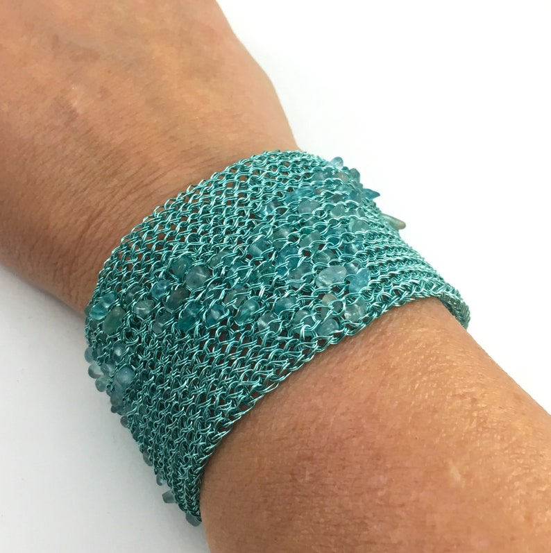 wire crochet cuff bracelet ocean turquoise with apatite chips