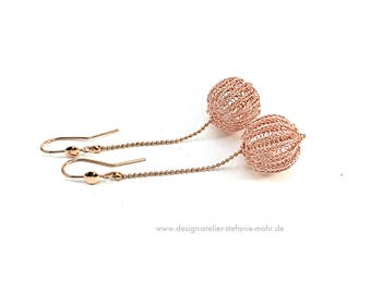 double wire crochet rose gold BUBBLE-EARRINGS