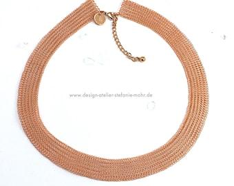 wire crochet collier / necklace enamelled copper wire 52-58 cm