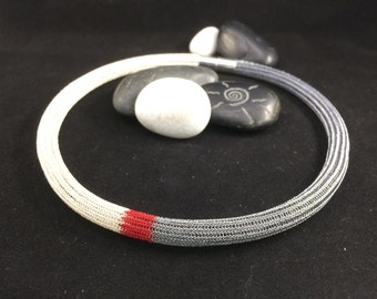 hand made double wire crochet tricolour necklace silver/dark grey and red