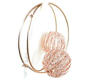 wire crochet rose gold filled hoop earrings with wire crochet BUBBLE