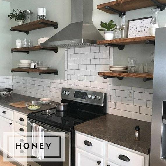 Any Size Floating Shelves Kitchen Shelves Industrial Pipe Shelves Open Shelving Laundry Room Bathroom Wood Wall Shelves