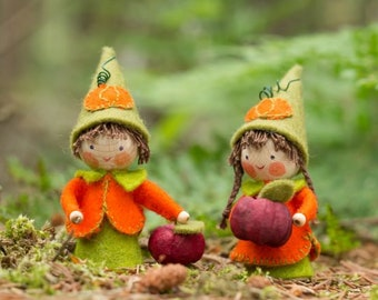 Two small pumpkin gnomes, a DIY package