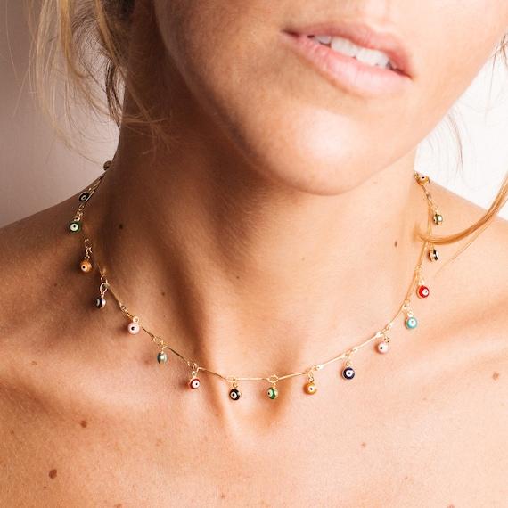 come comprare bellissimo stile prezzo più economico Mini ciondoli collana occhio turco, bagnata in oro 24Kt · Occhio turco  colori · fascino · Girocollo in · Boho · tendenza · Collana mini · Amuleto
