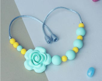 Girls necklace, Silicone Chew Beads, Silicone Teether, Chew Jewelry, Silicone Teething, Chewing Beads, Toddler Jewlery, Fidget Necklace