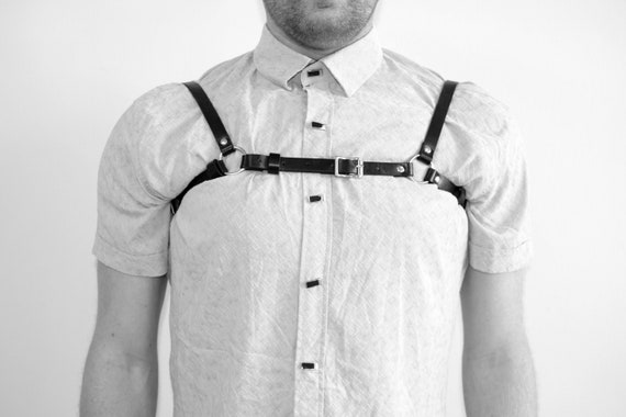 Mens Leather /'H/' Bulldog HARNESS GAY Leather black yellow,adjustable straps new
