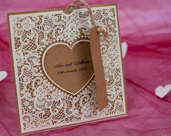 Floral Wedding Invitation With Lace, Kraft Wedding Invitation Free shipping
