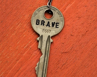"Hand Stamped Vintage Key ""BRAVE"" Necklace (#496) - Jewelry Necklace Pendant Custom"
