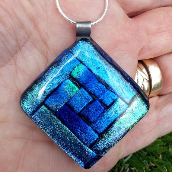 Sterling Silver Multicolor Dichroic Glass Square Pendant