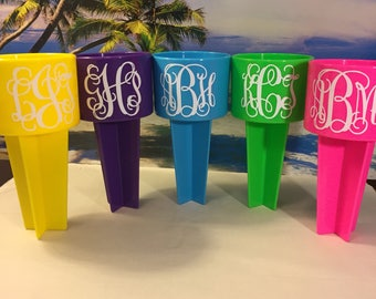 BEACH SPIKER Monogram Name Personalized YETI rtic Beverage Phone Key Holder Accessories 20 Colors Bride Bridesmaid Gift Fun Accessory Drink