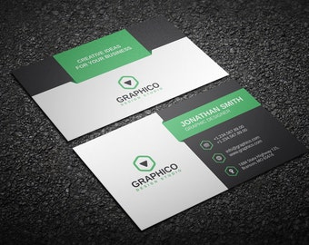 Simple modern business card design template photoshop etsy creative corporate business card design template photoshop templates neat clean corporate instant download v9 cheaphphosting Images