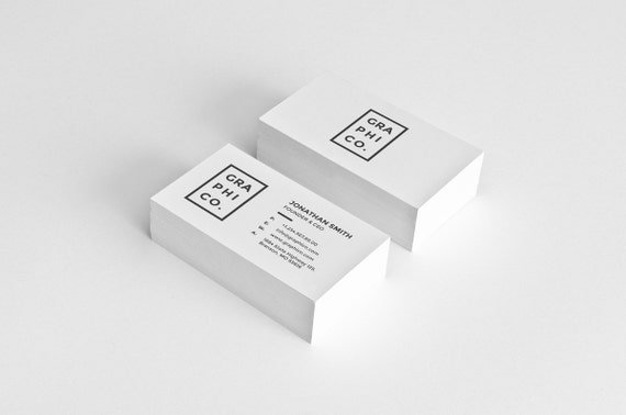 Simple Minimal Business Card Design Template Photoshop Etsy