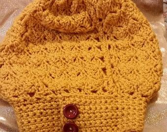 Gold Women's Crochet Slouch Hat