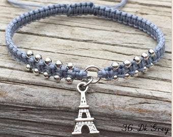 Eiffel Tower Bracelet, French Anklet, Adjustable Macrame Friendship Bracelet, Macrame Jewelry, Gift for Her, Eiffel Tower Paris, Paris Charm