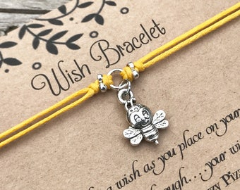 Bee Wish Bracelet, Make a Wish Bracelet, Wish Bracelet, Friendship Bracelet, Bumble Bee, Bee Bracelet, Gift for Her, Favour Gift