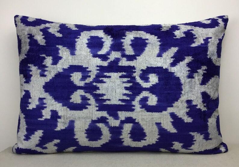 Double side ikat cushion,Handmade velvet ikat pillow 16 x 24 Silk velvet ikat pillow cover Decorative pillows Luxury home decoration