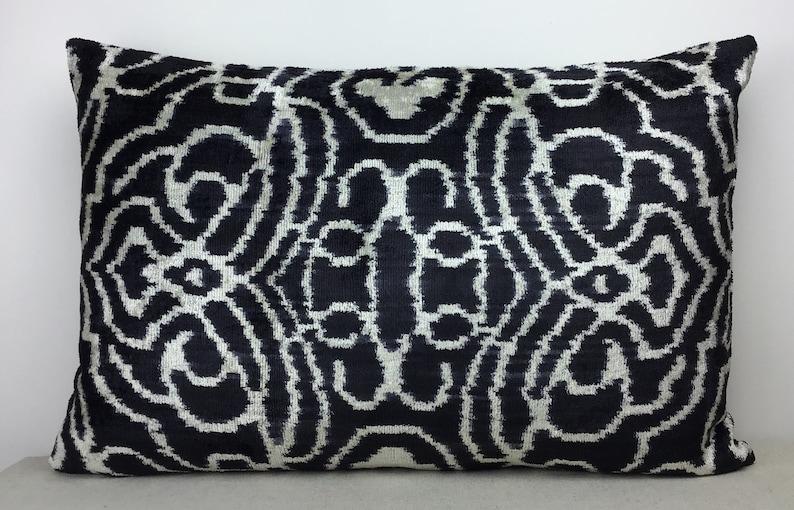 16 x 24 Silk velvet ikat pillow cover Decorative pillows Luxury home decoration Double side ikat cushion,Handmade velvet ikat pillow