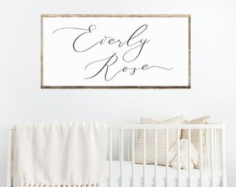 Custom Name Wreath 22 Large Laser Cut Sign Modern Calligraphy First and Middle Name Personalized Wooden Sign Rustic Nursery D\u00e9cor