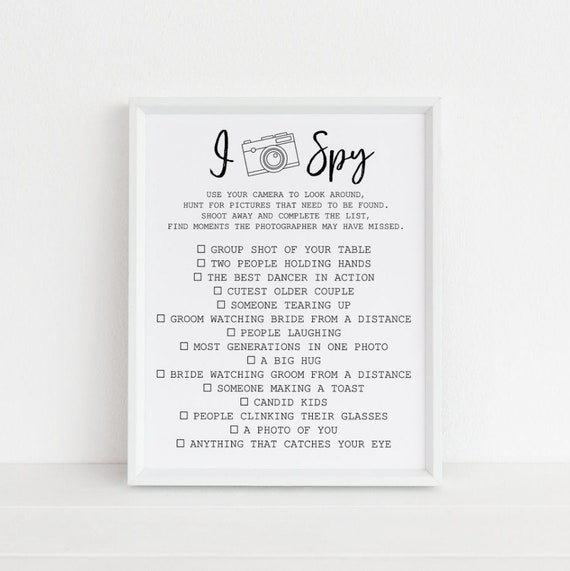 I spy picture wedding game sign reception table print camera etsy image 0 maxwellsz