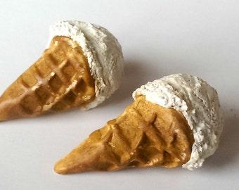 Vanilla Ice Cream Earrings, Food Jewelry
