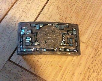 Sterling silver Abalone belt buckle