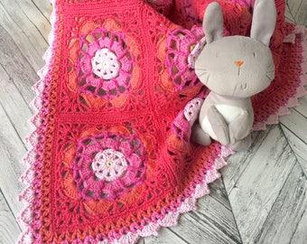 crochet blanket/ crochet pattern/ girl's crochet blanket/ granny square blanket/ afghan crochet pattern/ afghan square pattern/ crochet