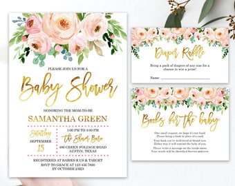 Blush Pink Watercolor for Baby Shower Invitation Printable Blush Pink Floral Watercolor Baby Shower, Baby Girl Baby Shower Invitation BBS026