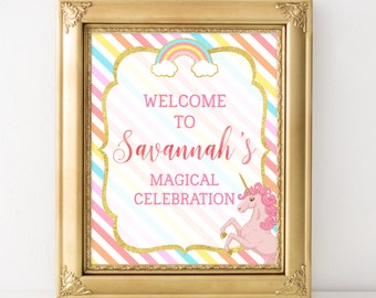 Printable Unicorn Party Welcome Sign, Magical Celebration Unicorn Party Decoration, Unicorn Birthday Party Sign, Unicorn-A004