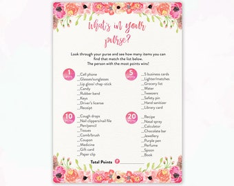 Printable Baby Shower Game What's in your Purse Printable Baby Shower Game Watercolor Floral, Pink Floral, Baby Girl Theme BBS002