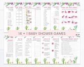 Llama Baby Shower Game Pack, Llama Cactus Baby Shower Games, Fiesta Baby Shower, Succulent Baby Shower, Baby Shower Activity BBS140