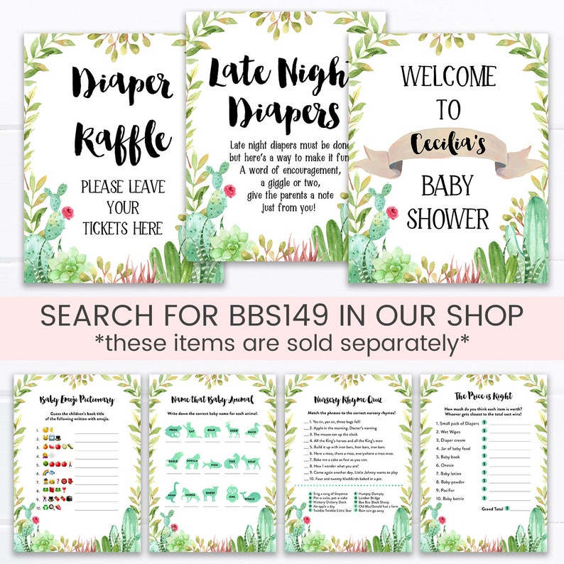 Gender Neutral BBS149 Succulent Southwest Baby Shower Games and Activities Cactus Baby Shower Game Pack Fiesta Baby Shower Games