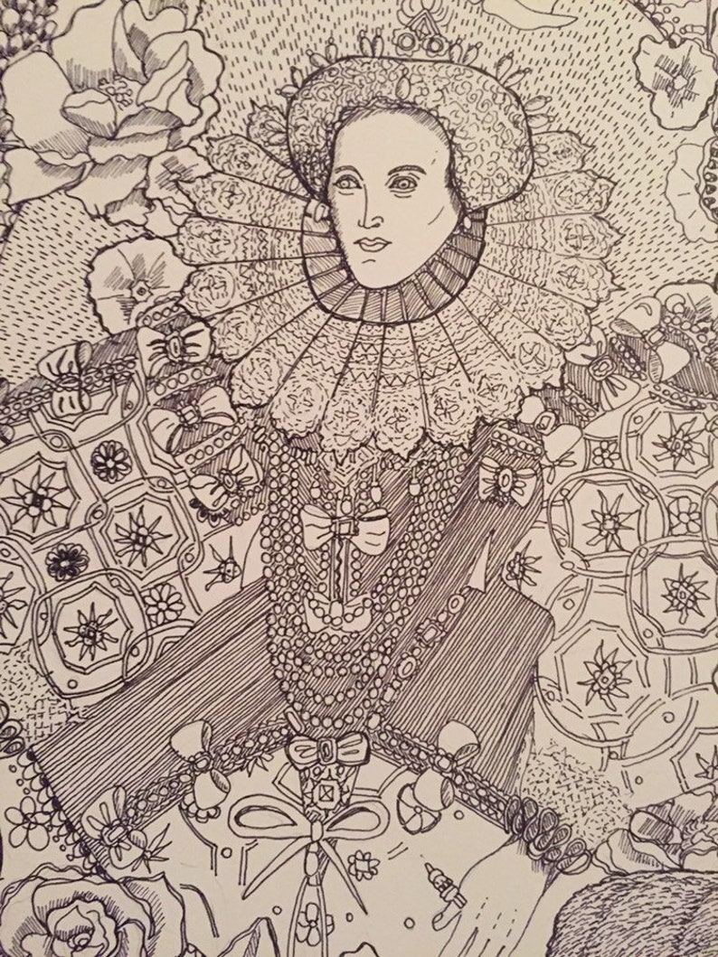 Queen Elizabeth 1st print from my original drawing of the image 0