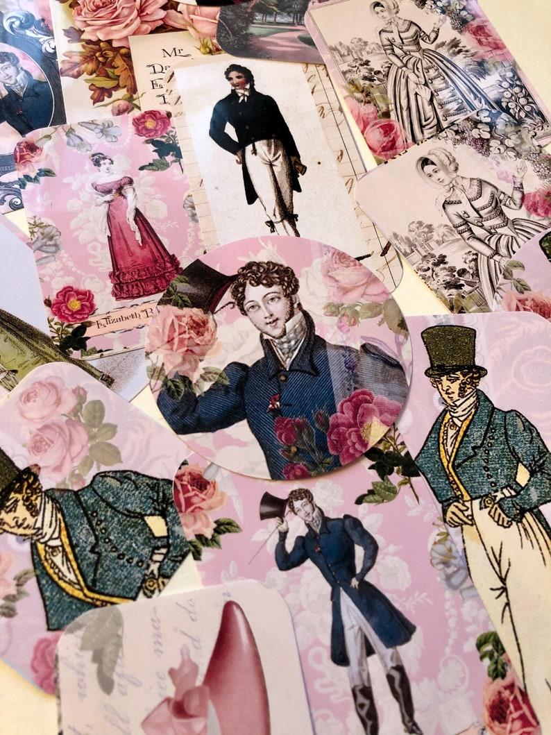 Jane Austen stickers featuring Mr Darcy and Elizabeth Bennet. image 0