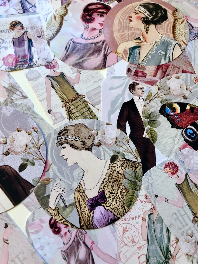 Vintage stickers. 1920's style stickers. Pretty and image 0