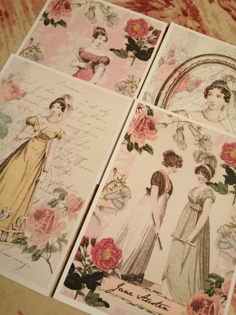 Jane Austen postcards. Pretty postcards with the English image 0