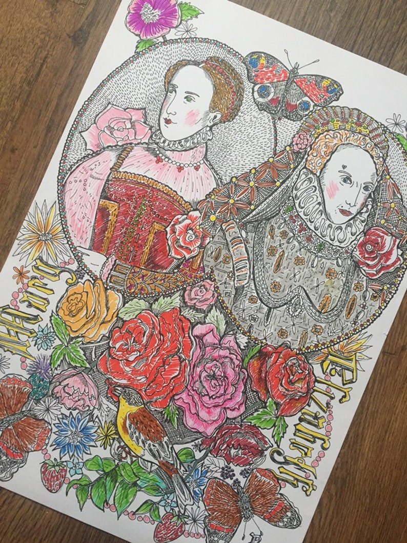 Elizabeth 1st and Mary Queen of Scots print taken from my pen image 0