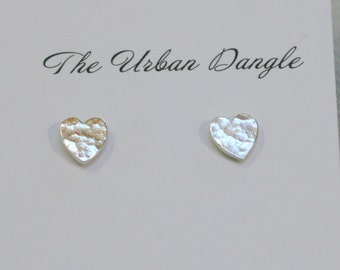 Hammered Hearts Studs, Hammered Silver Studs, Minimalist Jewellery, Silver Earrings, Textured Earrings, Heart Earrings, Valentine's Gift
