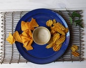Ceramic Chip And Dip Platter, Ceramic Snack Dish, Blue Serving Platter, Apple And Honey Serving Dish, Jewish New Year Platter, Pottery Bowl