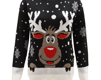 New Ladies Womens Knitted Reindeer Christmas XMAS Jumper Snow Flakes Top