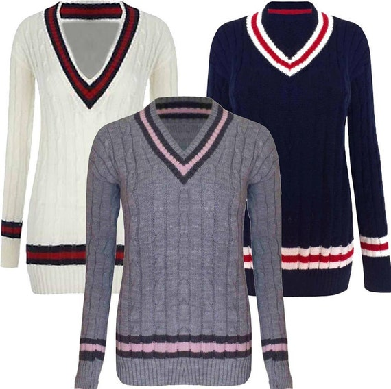 Ladies Womens Cable Knitted V Neck Cable Cricket Jumper Plus Size Uk 8-22 New