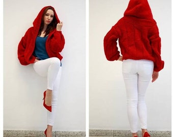 Handmade knitted woman sweater jersey con capucha mujer pullover mujer con capucha tejido manual ropa mujer tejida red sweater woman