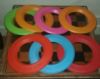 Burger King Vintage Zinger Throwing Disc Lot of 7! 6 different colors, all in great shape!  Brought to you by UsefulRetro!