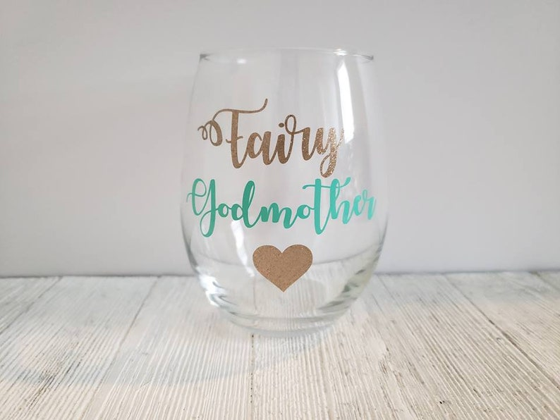 6f0dbe9f147 Fairy Godmother Wine Glass Fairy Godmother Gift Godmother   Etsy