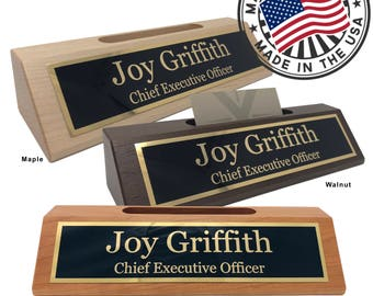 Desk name plate etsy personalized business desk name plate with card holder made in usa free domestic shipping colourmoves