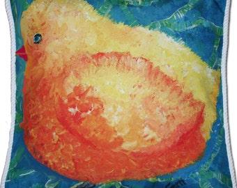 "Yellow Birdie Pillow, 18 x 18"" , FREE SHIPPING"