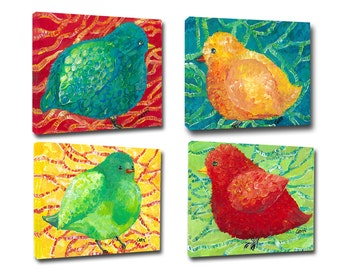 Canvas art, set of 4 little Birds on giclee, free shipping and on sale now!