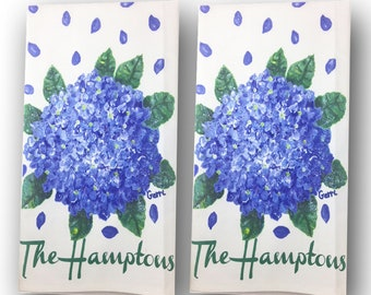 """Beautiful Hydrangea with """"The Hamptons"""" cotton Guest/Tea Towels, set of 2 with FREE shipping"""