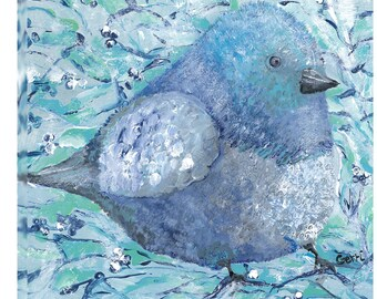 "Adorable Blue Birdie, 20 x 20"", gallery wrapped Canvas, FREE shipping!"