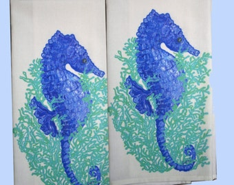 Seahorse All Cotton Tea/Guest Towels, set of 2, with free shipping