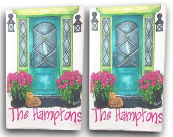 """Bright Turquoise Front Doors with """"The Hamptons"""" cotton Guest/Tea Towels, set of 2 with FREE shipping"""